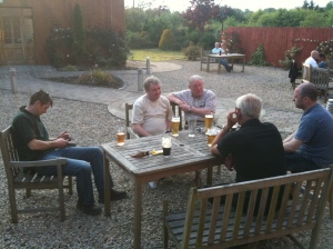 Post ride out review with beers