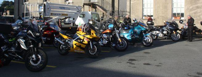 Line of bikes await their riders